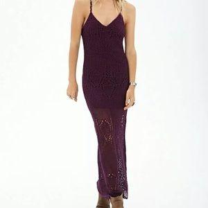 Forever 21 Crochet Maxi Dress S Boho